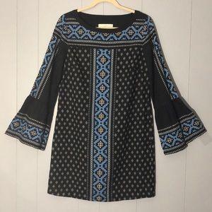 LOFT BEAUTIFUL SHIFT DRESS WITH  BELL SLEEVES SZ S